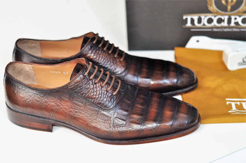 TucciPolo Crocodile Embossed Luxury Mens Handmade Oxford Brown Shoe