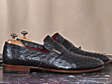 TucciPolo Dace Moccasin Genuine Ostrich Leather Mens Luxury Handmade Shoe