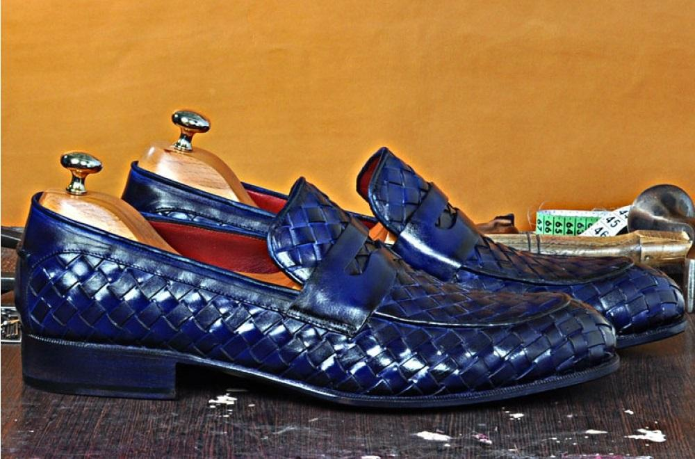 TucciPolo Digno-B Stylish Blue Chequeboard Woven Calfskin Handmade Italian Leather Loafer Shoe