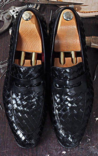 TucciPolo Digno-K Stylish Black Chequeboard Weave Calfskin Handmade Loafer Italian Leather Mens Shoe