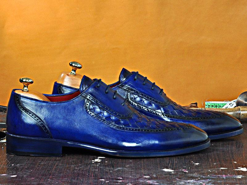 TucciPolo Dumo-B Handmade Chequerboard Weave Lace-up Italian Leather Luxury Mens Shoe