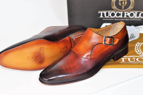 TucciPolo Elvo-TP Luxury Mens Handmade Two Tone Brown Italian Leather Shoe