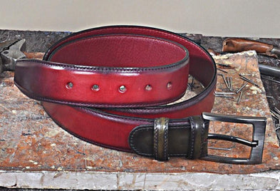 TucciPolo Italian Crast Calfskin Burgundy with Green Mens Belt