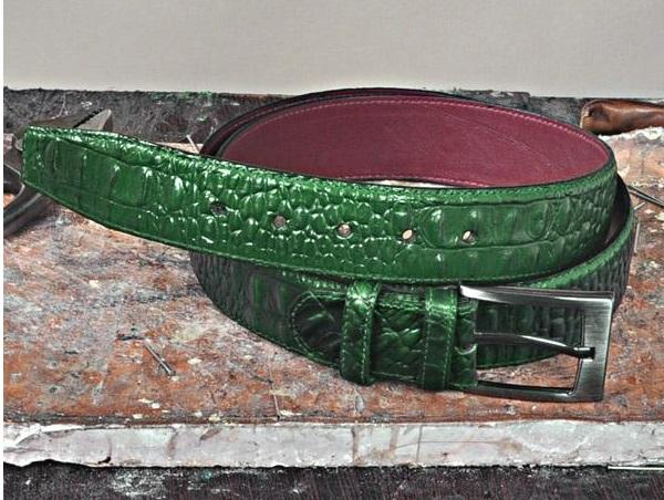 TucciPolo Green Embossed Crocodile Handmade Mens Leather Luxury Belt