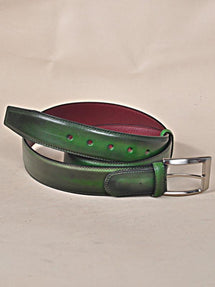 TucciPolo Green Handpolished Mens Leather Luxury Belt