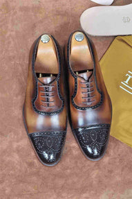 TucciPolo Handmade Brown Captoe Oxfords Mens Luxury Brogue Italian Leather Shoe