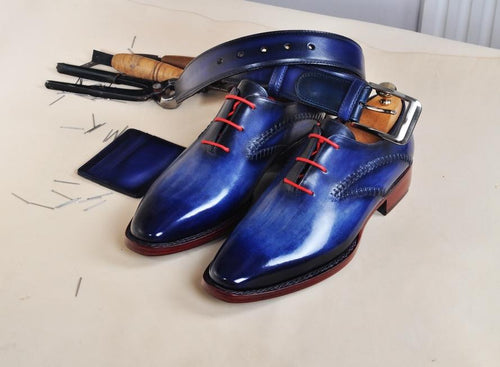 TucciPolo Handmade Mens Elegant Style HandWelted Italian Navy Calfskin Luxury Oxford Shoe