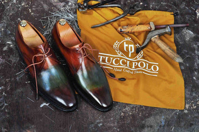 TucciPolo Handmade Mens Stylish Goodyear Welted Two Tone Greenish Brown Luxury Derby Shoe
