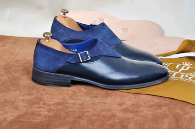 TucciPolo Handmade Single Buckle Monkstrap Mens Luxury Half Suede and Leather Royal Blue Shoe
