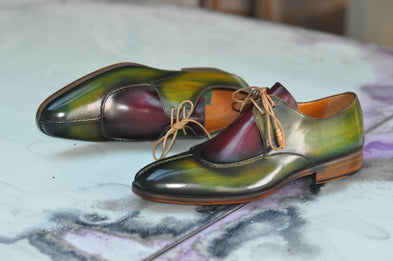 TucciPolo Handmade Two Tone Greenish Burgundy Mens Oxford Italian Leather Split Toe Luxury Shoe