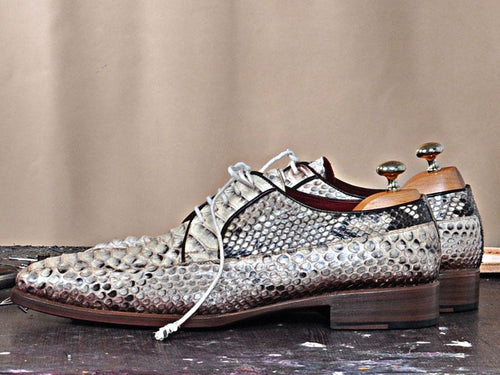 TucciPolo Luro-Python Genuine Natural Python Leather Classic Lace-up Mens Shoes