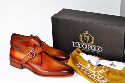 TucciPolo Luxury Mens Handmade Monkstrap Tan Italian Leather Shoe