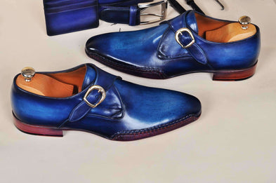 TucciPolo Men's Monkstrap HandPolished Bleached Blue Side Handsewn Twisted Leather Sole Luxury Shoe