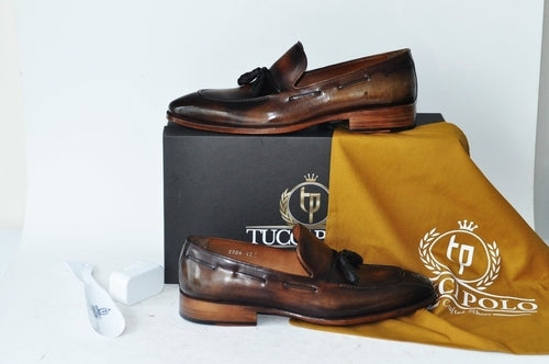 TucciPolo Mens Brown Handcrafted Tassel Italian Calfskin Luxury Loafers