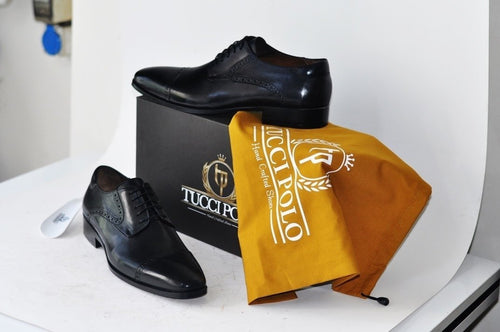 TucciPolo Mens Derby Style Handcrafted Black Leather Luxury Shoes