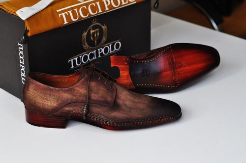 TucciPolo Mens Derby Style Luxury Shoe - Side Handsewn Bleached Brown Suede Upper and Leather Sole