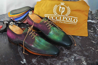 TucciPolo Mens Derby Style Luxury Shoe - Side Handsewn Bleached Greenish Purple Suede Upper