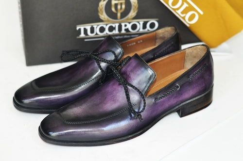 TucciPolo Mens Handcrafted Purple Italian Calfskin Luxury Slip on Loafers