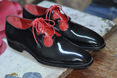 TucciPolo Mens Handmade 2 Tone Black and Red Italian Leather Luxury HandPolished Classic Shoe
