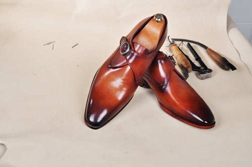 TucciPolo Mens Handmade Brown Monkstrap Luxury Leather Shoe