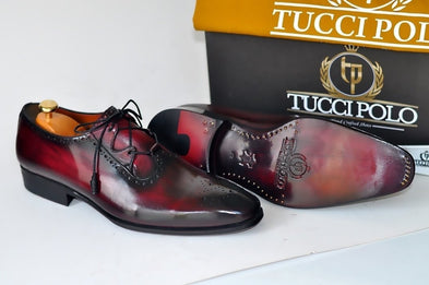 TucciPolo Mens Handmade Burgundy Oxford Italian Leather Luxury Shoe