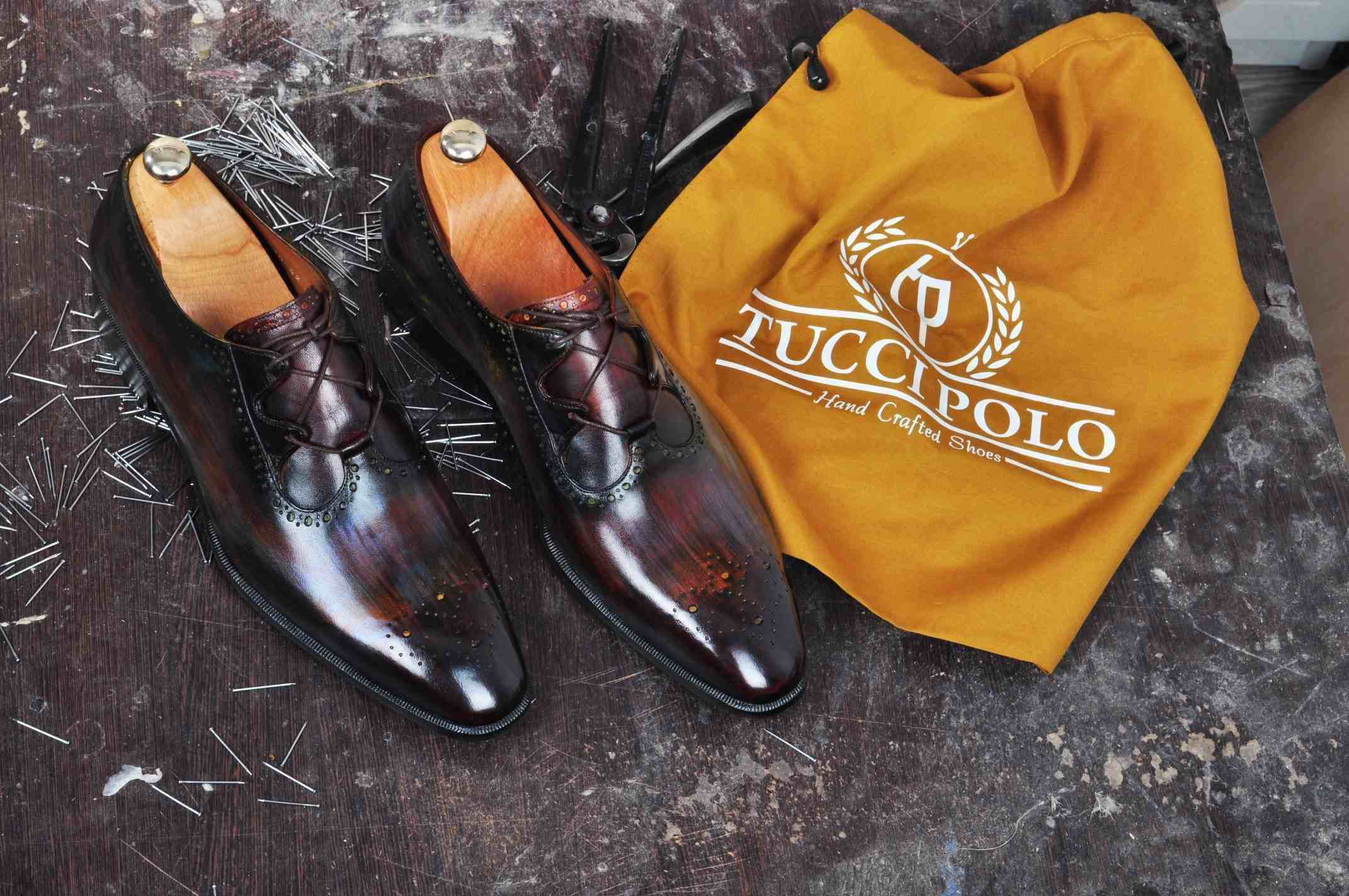 TucciPolo Mens Handmade Burnished Brown Oxford Italian Leather Luxury HandPolished Shoe