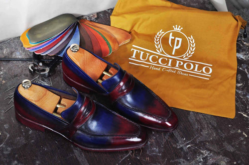 TucciPolo Mens Handmade Italian Leather Luxury Two Tone Blueish Burgundy Loafers Shoe