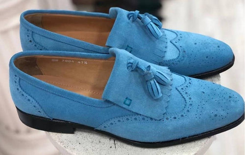 TucciPolo Mens Handmade Luxury Blue Suede Tassel Loafers