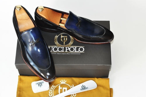 TucciPolo Mens Luxury Handmade Italian Leather Mixed Tone Blue and Brown Loafers Shoe