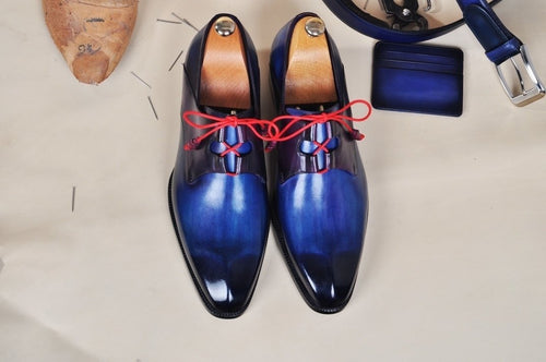 TucciPolo Mens Oxford Handmade Classic Blue with Red Wrapped Laces Luxury Italian Leather Shoe