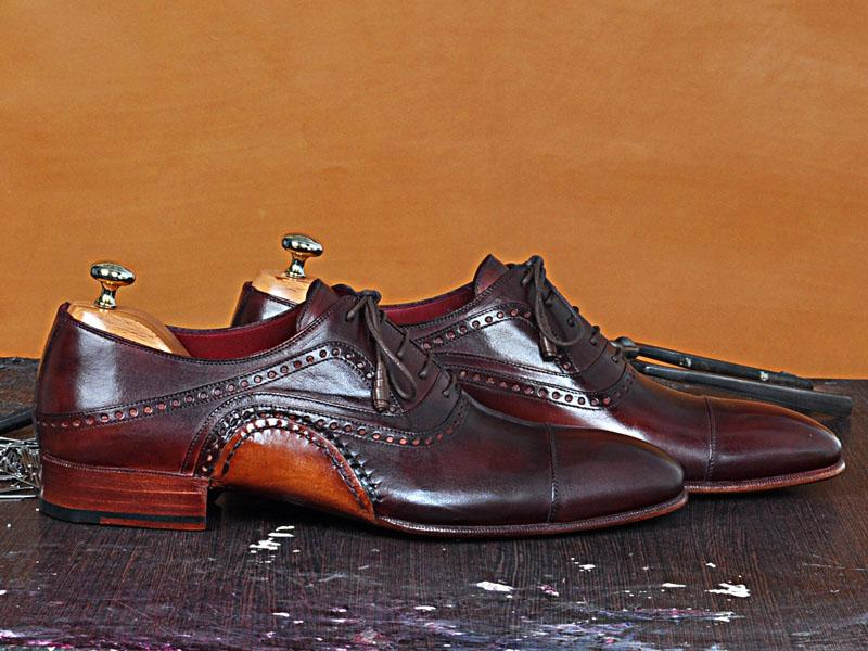 TucciPolo Mens Oxfords Burgundy Naturally Tanned Calfskin Handmade Welted Italian Leather Core Luxury Shoe