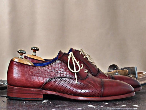 TucciPolo classic Burgundy Lace-ups Calfskin Handmade Luxury Mens Shoe