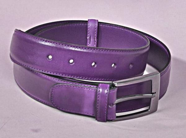 TucciPolo Purple Bleached Style Handmade Mens Leather Luxury Belt