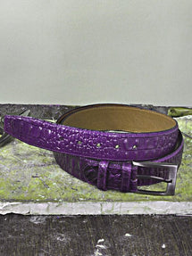 TucciPolo Purple Embossed Crocodile Mens Leather Belt