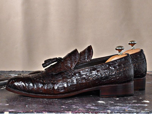 TucciPolo Troy Bespoke Mens Genuine Crocodile Leather Luxury Loafers with Tassels