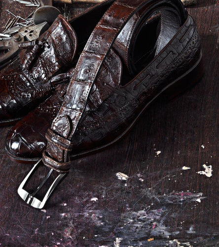 TucciPolo Genuine Crocodile Skin in Brown Color Mens Leather Luxury Belt