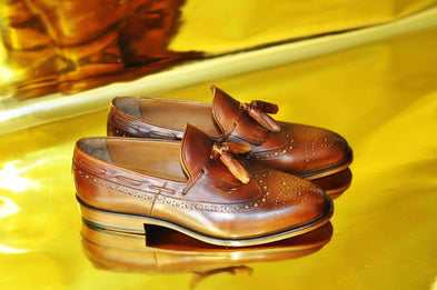 TucciPolo Mens Handmade Wingtip Brown Tassel Loafers Style Luxury Shoe