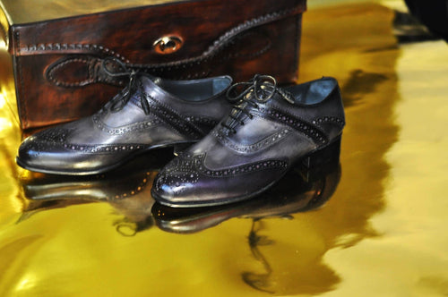 TucciPolo Mens Handmade Wingtip Oxford Style Bleached Black Luxury Shoe