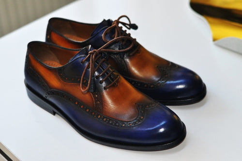 TucciPolo Handmade Wingtip Oxford Style Blue tan Mens Luxury Shoe