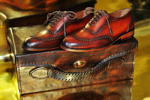 TucciPolo Mens Handmade Wingtip Oxford Style Bordeaux Luxury Shoe