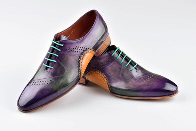 TucciPolo Mens Handmade Purple Oxfords Side Handsewn Welted Italian Leather Core Luxury Shoe