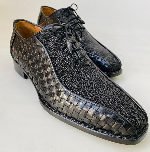 New TucciPolo Half Genuine Black Stingray with Weave Leather Prestigiously HandWelted Oxford Mens Luxury Shoes