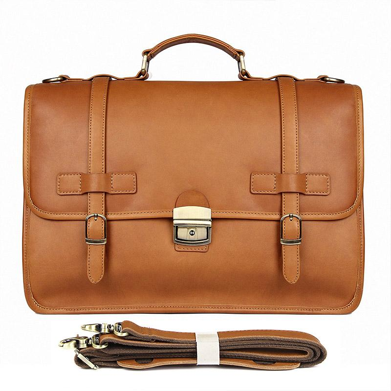 TucciPolo 7397B Mens Messenger Leather Laptop Briefcase Bag