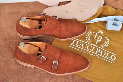 TucciPolo Handmade Double Buckle Monkstrap Mens Luxury Suede Shoe