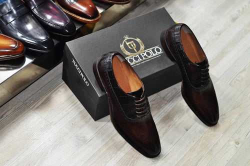 TucciPolo TROY-TP Handmade Genuine Crocodile with Brown Italian Leather Mens Luxury Designer Shoe