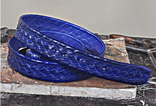 TucciPolo Blue Chequerboard Weave Mens Leather Luxury Handmade Belt