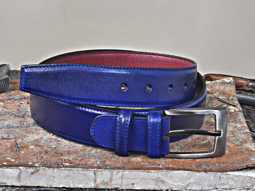 TucciPolo Blue Handpolished Mens Leather Luxury Belt