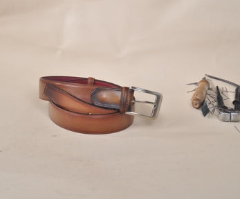 TucciPolo Brown Bleached Style Handmade Mens Leather Luxury Belt