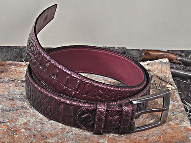 TucciPolo Burgundy Crocodile Embossed Mens Leather Belt