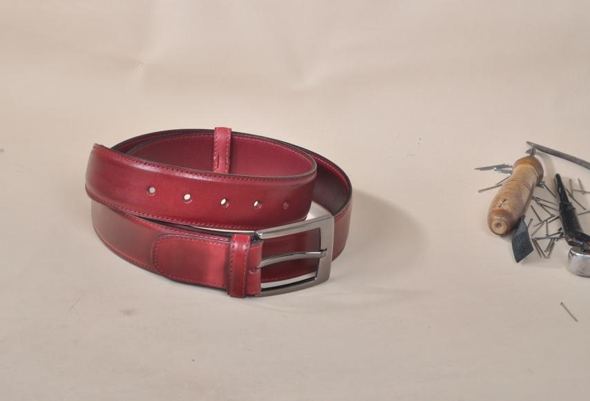 TucciPolo Burgundy Handpolished Mens Leather Luxury Belt